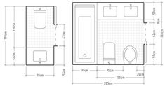 How to properly size a bathroom. Distributions for bathrooms and toilets. Bathroom Design Layout, Bathroom Interior Design, Design Bedroom, Bathroom Floor Plans, Bathroom Flooring, Dyi Bathroom Remodel, Toilet Plan, Bathroom Dimensions, Lavatory Design