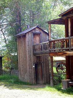 This double decker outhouse stands in the Nevada City, Montana.   http://www.legendsofamerica.com/photos-montana/Nevada%20City%20Double%20Dec  ker%20Outhouse-500.jpg