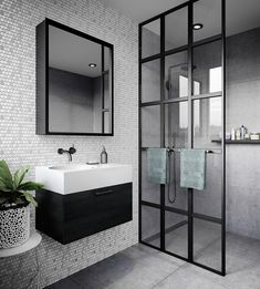 Bathroom some ideas, master bathroom renovation, bathroom decor and bathroom organization! Master Bathrooms could be beautiful too! From claw-foot tubs to shiny fixtures, these are the master bathroom that inspire me the essential. Bathroom Layout, Modern Bathroom Design, Bathroom Interior Design, Bathroom Ideas, Bathroom Cabinets, Bathroom Mirrors, Minimal Bathroom, Contemporary Bathrooms, Industrial Bathroom Design
