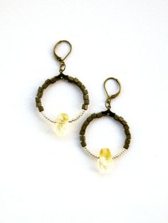 Citrine Points With Matte Olive Square Beads Tiny Silver by Luere, $20.00