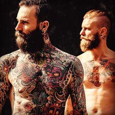 A pair of great-looking full beards !! thick bushy mustache mustaches bearding beard bearded man men shirtless tattoos tattooed chest full body art handsome #beardsforever