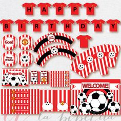 Soccer Party Package. Instant download. Printable. Matching Custom invitation available. Manchester United inspired printables.
