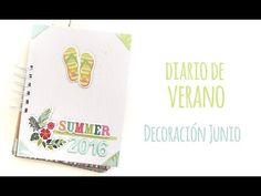 """Decoración de Junio en mi """"Diario de verano"""" - TUTORIAL Scrapbook - YouTube"""