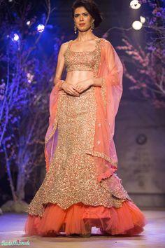 Orange pink lehenga with silver embroidery by Jyotsna Tiwari | thedelhibride wedding blog