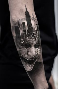 Beautiful Surrealist Double-Exposure Tattoos Mash Up People, Architecture & Nature - KickAss Things Wicked Tattoos, Creepy Tattoos, Badass Tattoos, Cool Tattoos, Joker Tattoos, Picture Tattoos, Upper Arm Tattoos, Leg Tattoos, Body Art Tattoos