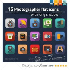 Photographer Flat Icons  #GraphicRiver        Photographer flat icons Modern flat icons vector collection with long shadow effect in stylish colors of different elements on photo design and development theme. This set contains 15 fully scalable vector icons. Good choice for use in infographic and interfaces.  The pack includes   1 EPS and AI file with 15 icons in vector shapes(easily resize and colors). 1 PSD file with 15 icons 1 folder with jpg 1 folder with transparent png  Thank you for…