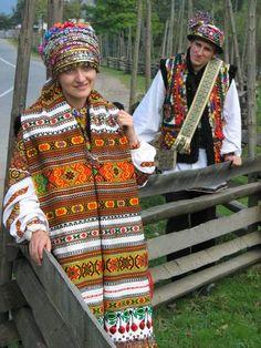 A Ukrainian Hutsul couple in traditional wedding clothing