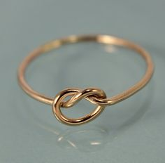 Knot Ring 14k Gold Thin Round Simple Stacking by tinysparklestudio