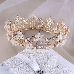 Hair Jewelry, Bridal Jewelry, Gold Wedding Crowns, Crown Aesthetic, Pink Crown, Floral Crown, Flower Tiara, Fairytale Dress, Crystal Crown