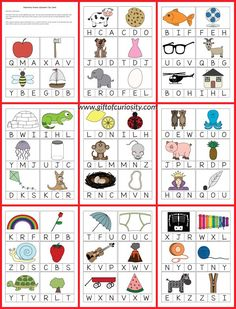 FREE printable Beginning Sounds Alphabet Clip Cards for kids who are learning to identify the initial sounds of words and match those sounds to letters. || Gift of Curiosity