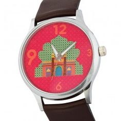 Kuheli Palace Door Wrist Watch : This Kuheli wristwatch has the design of the arches and architecture of the classic palace. The watch has a metal rim and a black leather strap.