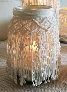 Questo articolo non è disponibile. Macrame Art, Macrame Projects, Macrame Knots, Romantic Dinners, Romantic Picnics, Macrame Patterns, Mason Jar Lamp, Bottle Crafts, Diy And Crafts