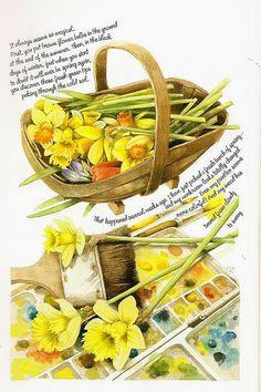 Marjolein Bastin 2007 Weekly Planner art: daffodils & watercolors | by DeeDeeQ5724