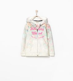 Image 1 of FLORAL ZIPPED SWEATSHIRT from Zara