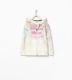 Image 1 of FLORAL ZIPPED SWEATSHIRT from Zara