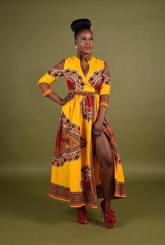 Rahyma Yellow Dashiki Wrap Dress ~African fashion, Ankara, kitenge, African women dresses, African prints, African men's fashion, Nigerian style, Ghanaian fashion ~DKK
