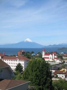 View of the volcano Osorno, Puerto Varas, Chile, Cities, Spanish Courses, Volunteer Work, Street Signs, Work Travel, Volcano, Mount Rainier, South America