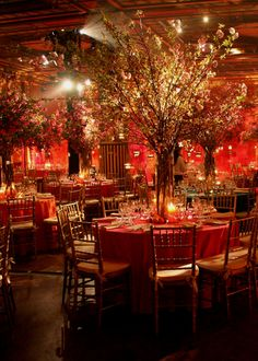 This looks like our wedding.but we used iron trees for the bases and attached over 150 curly willow and silk cherry blossom stems. It was so romantic Wedding Themes, Wedding Designs, Wedding Venues, Themed Weddings, Wedding Poses, Wedding Ideas, Chinese Wedding Decor, Chinese Theme, Red Cherry Blossom