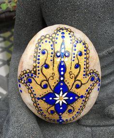 Hand painted stone majestic hamsa stone by EmmysHeartsnCrafts