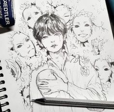 Credit to the artist. This is beautiful. Credit to the artist. This is beautiful. Kpop Fanart, Taehyung Fanart, Kpop Drawings, Anime Kawaii, Drawing Sketches, Art Inspo, Art Reference, Cool Art, Anime Art