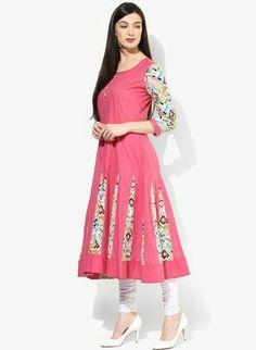 Buy AKS Pink Printed Anarkali Kurta - - Apparel for Women Anarkali, Summer Dresses, Fabric, Sleeves, Prints, Cotton, Stuff To Buy, Women, Style