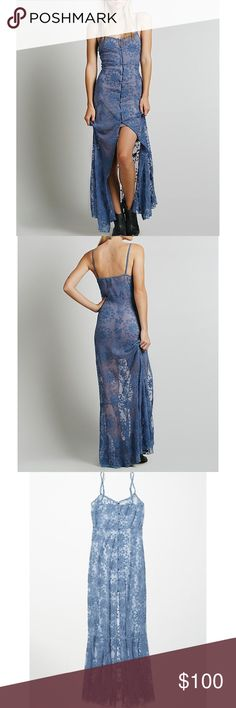Free People Queen of Flowers Maxi Slip Free People lace, button-up maxi slip with adjustable strap. Only worn twice for shoots. Super pretty, hesitant to sell✨ slip underneath not included Free People Dresses Maxi
