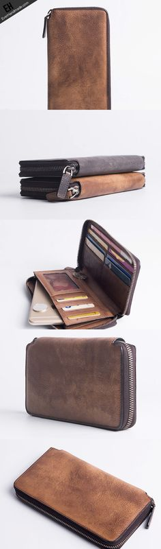 3c1ca2e8a9c6 Cool Vintage Mens Leather long wallets zipper clutch wallet for men