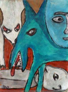 Ein Acryl von Peter Ammon Outsider Art, Moose Art, Painting, Animals, Random Stuff, Painting Art, Animales, Animaux, Paintings
