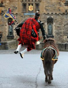 Be a your Own JoyMaster. A Crossed Swords Piper leaps for joy at the end of a very successful 2011 Royal Edinburgh Military Tattoo, accompanied by Shetland Pony Mascot, Cruachan III, of The Royal Regiment of Scotland… National Tartan Day, Perth, Edinburgh Military Tattoo, Tattoo Edinburgh, Military Tattoos, Tartan Kilt, Men In Kilts, Scottish Tartans, Scottish Bagpipes