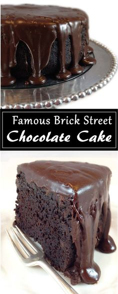 Everything you dream of in a rich, dense cho… Famous Brick Street Chocolate Cake. Everything you dream of in a rich, dense chocolate cake. And a to-die-for ganache frosting. Just Desserts, Delicious Desserts, Dessert Recipes, Delicious Chocolate, Cake Chocolate, Chocolate Frosting, Divine Chocolate, Chocolate Drizzle, Chocolate Cake Recipes