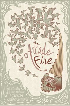 Arcade Fire mock gig poster by Emily Dove on Etsy