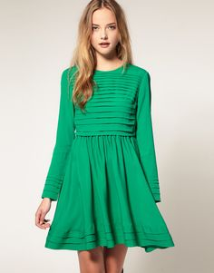 Fit and Flare Dress with Pleats
