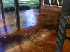 How to Create a Beautiful Marbled Acid Stain Look for Concrete Patios Yourself! http://www.directcolors.com/how-to-acid-staining-a-patio/