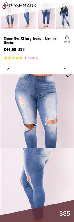Plus size Fashion Nova Jeans 3X New Never Worn Fashion Nova Jeans in a 3X, just bought them. They are too big. Will fit 20.22 Fashion Nova Jeans Skinny