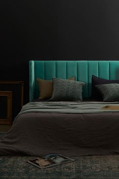 Velvet Bedhead, King - Ashford (Teal) I love this dark and moody bedroom