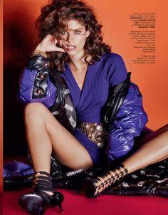 Sara Sampaio wear purple dress on Vogue Portugal Magazine November 2015 photoshoot