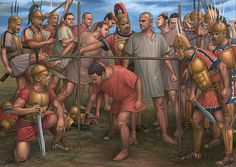 """Samnites after their defeat of a Roman army force their Roman captives to """"pass under the yoke"""", humiliation the Romans felt for a long time till they eventually defeated the Samnites."""