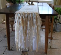 Vintage Lace and Burlap Table Runner