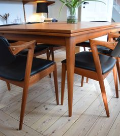 Midcentury Kai Kristiansen Model 42 Teak Dining Chairs | From a unique collection of antique and modern dining room chairs at https://www.1stdibs.com/furniture/seating/dining-room-chairs/