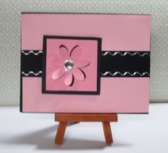 """Pink Flower Card This card measures approximately 4.25"""" x 5.5"""" in size http://kinamileli.wix.com/pink-mermaid-"""