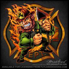 Fireman Leprechaun on Maltese Cross on Behance Firefighter Logo, Volunteer Firefighter, Navy Tattoos, Eagle Tattoos, Fire Badge, Maltese Cross, St Patrick Day Shirts, Love Illustration, Freelance Illustrator