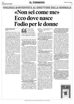 Violenza sulle donne: il parere del  Direttore della Scuola Normale #Vincenzo_Barone in una intervista a Il Tirreno.  1/2