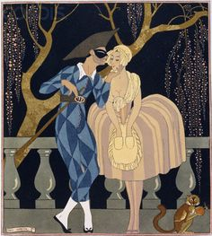 Georges Barbier's Harlequin's Kiss c.1920s