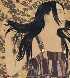 Ikenaga Yasnari (1965-) > Makiko 087, 2011 / Linen Canvas/Mineral pigments/ Gelatin glue/Soot ink/Pure gold