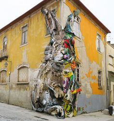 Portuguese Street Artist Unveiled A Giant Rabbit Made Of Trash On The Streets Of Vila Nova De Gaia In Portugal