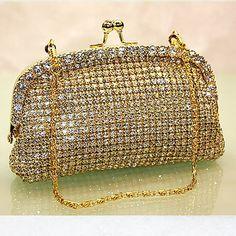 Sparkly Metallic Gold Wedding Bridal Evening Clutch Clutches Bags Purses