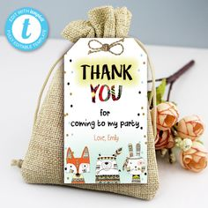 Tribal Wild One Thank You Tags, Boho Woodland Animals, Party Instant Download Printable Template Editable YOU PRINT Thank You Tags, Wild Ones, I Party, Party Printables, Birthday Celebration, Save Yourself, Printable Templates, Woodland Animals, Creative
