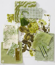 Update your home with a burst of fresh, organic color: Pantone's color of the year, Greenery. Green Fabric, Floral Fabric, Samuel And Sons, Fabric Board, Fabric Combinations, Textiles, Outdoor Fabric, Indoor Outdoor, Gorgeous Fabrics