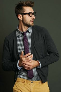 http://lookastic.com/men/looks/tobacco-chinos-and-charcoal-cardigan-and-purple-tie-and-white-and-navy-longsleeve-shirt/1306  — Tobacco Chinos  — Charcoal Cardigan  — Purple Horizontal Striped Tie  — White and Navy Gingham Longsleeve Shirt
