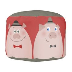 3 Little Retro Pigs Funny Trendy Cartoon Kids Chic Pouf - #chic gifts diy elegant gift ideas personalize